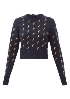 Chloé Horse-embroidered wool-blend sweater