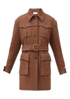 Chloé Houndstooth-tweed belted coat