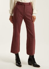 Chloé Checked wool-blend flared trousers