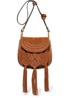 Chloé Hudson small whipstitched leather and suede shoulder bag