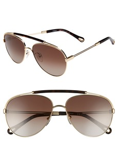 Chloé Jackie 59mm Polarized Metal Aviator Sunglasses