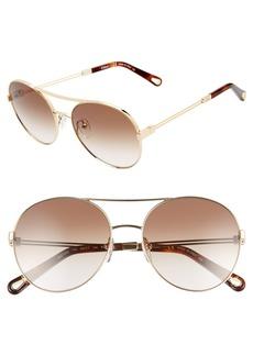 Chloé Jacky 55mm Gradient Aviator Sunglasses