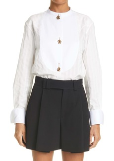 Chloé Jacquard Stripe Charm Button Cotton Shirt