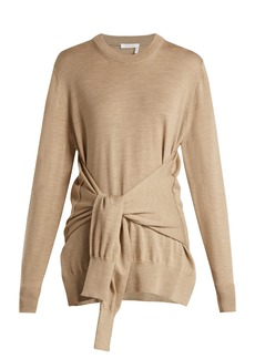 Chloé Knotted sleeve-waist wool sweater