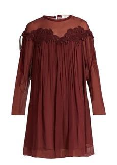 Chloé Lace-appliqué brushed silk-georgette dress