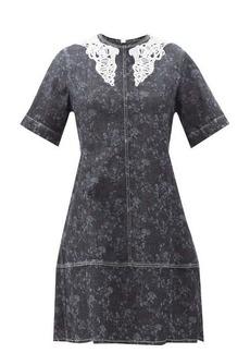Chloé Lace-collar floral-print denim mini dress