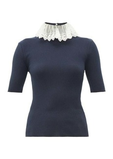 Chloé Lace-collar ribbed-knit sweater