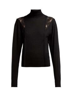Chloé Lace-insert high-neck wool-blend sweater