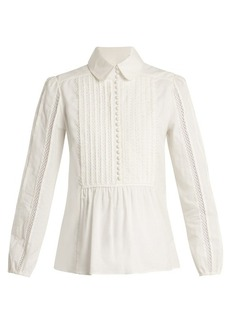 Chloé Lace-insert pleated-bib cotton shirt