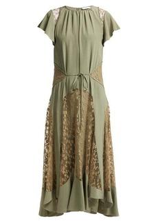 Chloé Lace-insert silk-crepe dress