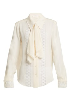 Chloé Lace-insert tie-neck blouse