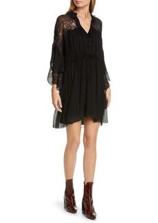Chloé Lace Panel Ruffle Long Sleeve Silk Minidress