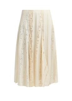 Chloé Lace-panelled silk midi skirt