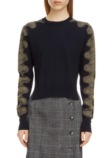 Chloé Lace Sleeve Wool Sweater