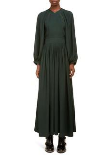 Chloé Lace Trim Open Back Long Sleeve Crepe Dress