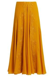 Chloé Lace-trim silk-georgette skirt