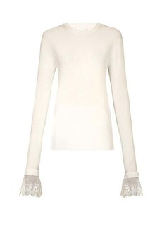 Chloé Lace-trimmed ribbed top
