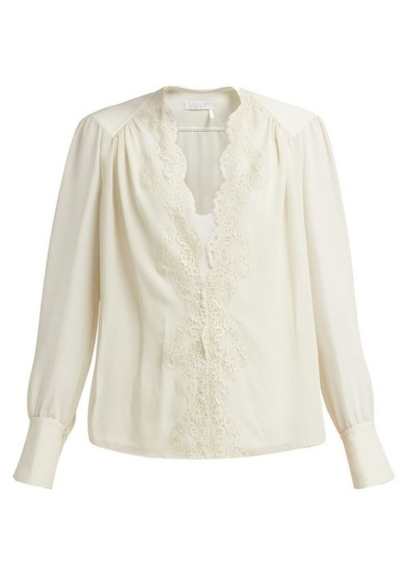 Chloé Lace-trimmed silk-georgette blouse