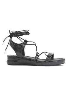 Chloé Lace-up crocodile-effect leather sandals