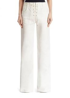 Chloé Lace-Up Denim Wide-Leg Pants