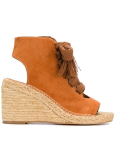 Chloé lace-up wedge sandals - Brown