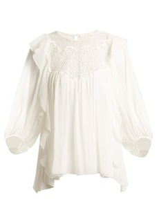 Chloé Lace-yoke butterfly-hem silk-crepon top
