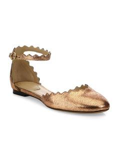 Chloé Lauren Metallic Leather Ankle-Strap Flats