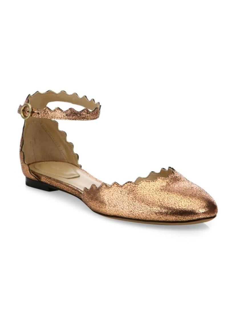 Chlo 233 Chlo 233 Lauren Metallic Leather Ankle Strap Flats