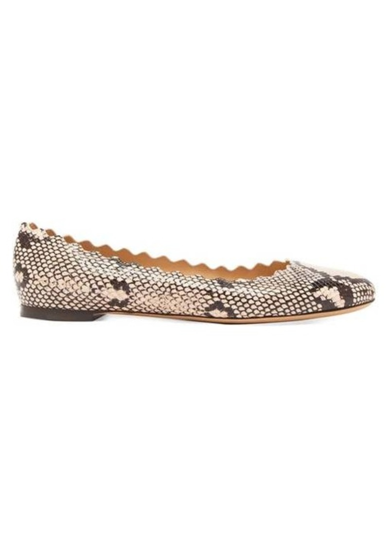 Chloé Lauren python-effect scallop-edge leather flats