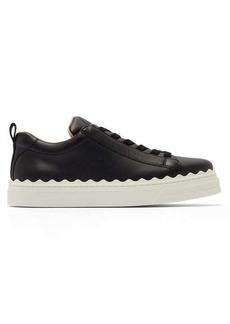 Chloé Lauren scallop-edge leather trainers