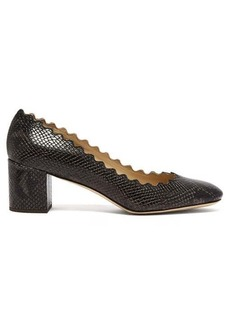 Chloé Lauren scallop-edge python-effect leather pumps