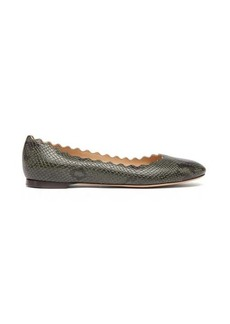 Chloé Lauren scallop-edge snake-effect leather flats