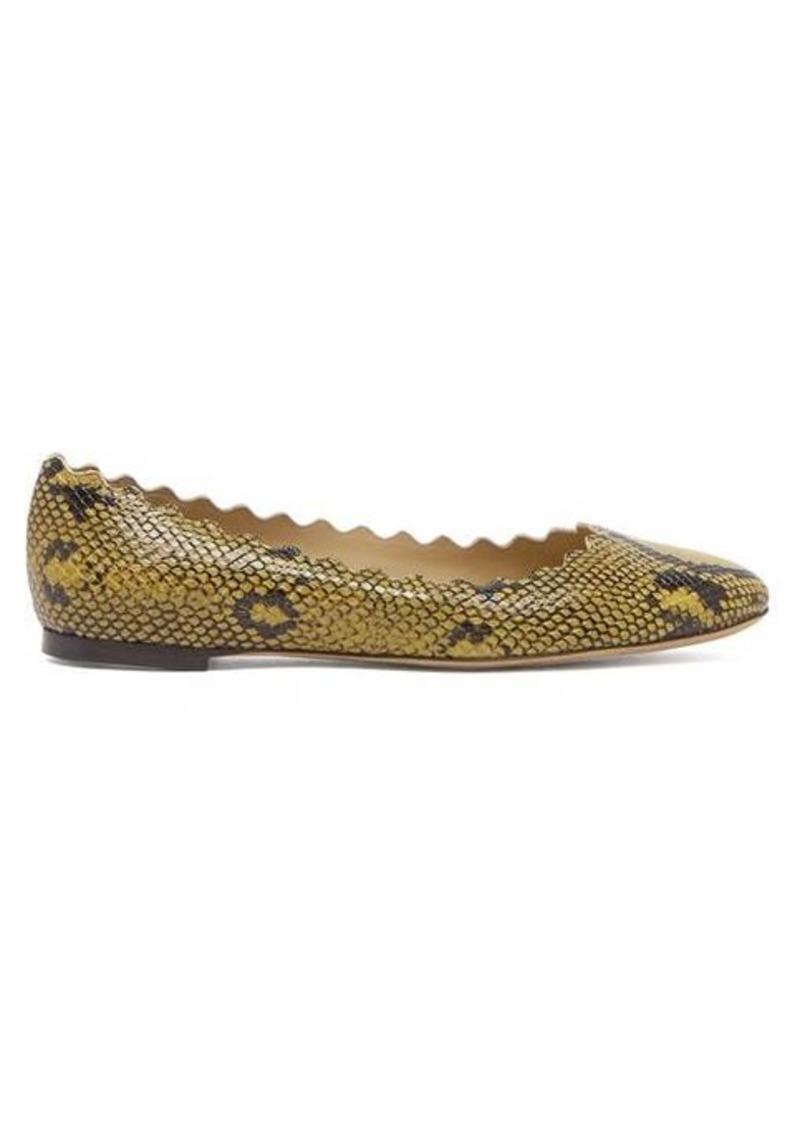 Chloé Lauren scallop-edge snake-effect leather flats
