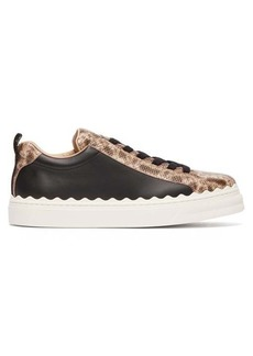 Chloé Lauren scallop-edge snake-effect leather trainers