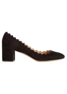 Chloé Lauren scallop-edge suede pumps