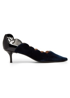 Chloé Lauren scallop-edge velvet and leather pumps