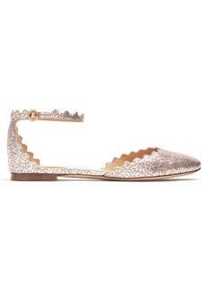 Chloé Lauren scallop-edged crackled-leather flats
