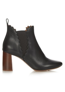 Chloé Lauren scallop-edged leather ankle boots
