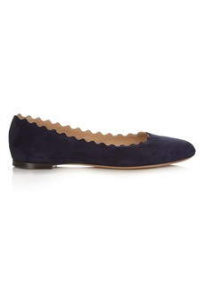 Chloé Lauren scallop-edge leather flats