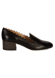 Chloé Lauren scallop-edged leather loafers