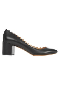 Chloé Lauren scallop-edged leather pumps