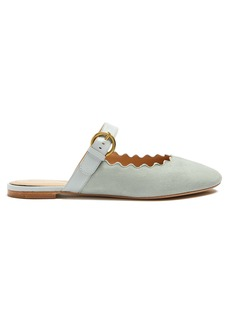 Chloé Lauren scallop-edged suede backless loafers