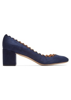 Chloé Lauren scallop-edged suede pumps