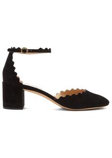 Chloé Lauren scallop-edged suede pumps