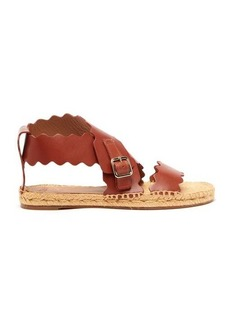 Chloé Lauren scalloped-edge leather espadrille sandals