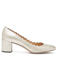 Chloé Lauren scalloped-edge leather pumps