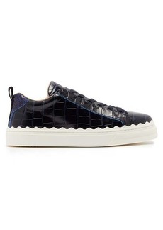 Chloé Lauren scalloped-edge leather trainers