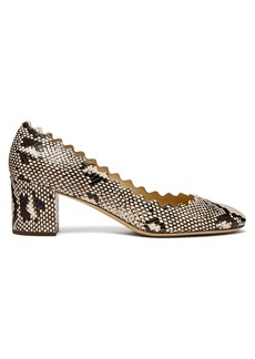 Chloé Lauren scalloped-edge python-effect leather pumps