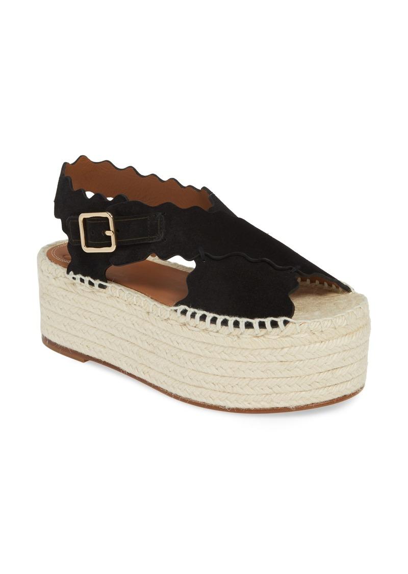 Chloé Lauren Scalloped Flatform Sandal (Women)