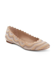 Chloé Lauren Scalloped Studded Ballet Flat (Women)